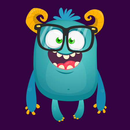Funny bigfoot wearing eyeglasses waving. Vector illustration of excited monster
