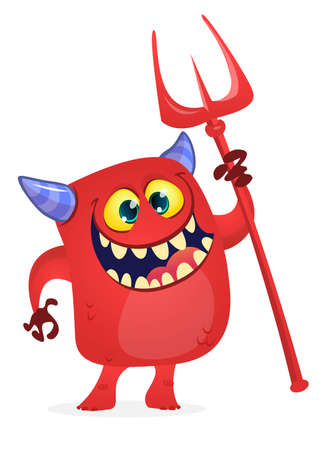 Cute devil cartoon character holding trident or pitchfork. Halloween illustration
