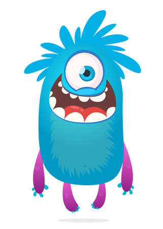 Cute cartoon monster with one eye. Smiling monster emotion with big mouth. Halloween vector illustration Illustration