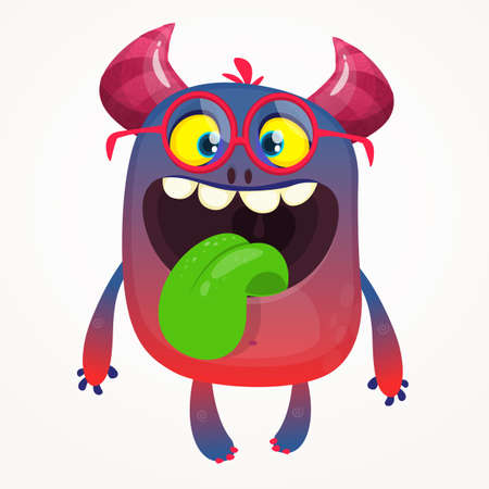 Cartoon monster wearing glasses and showing tongue. Vector troll or goblin or alien illustration isolated