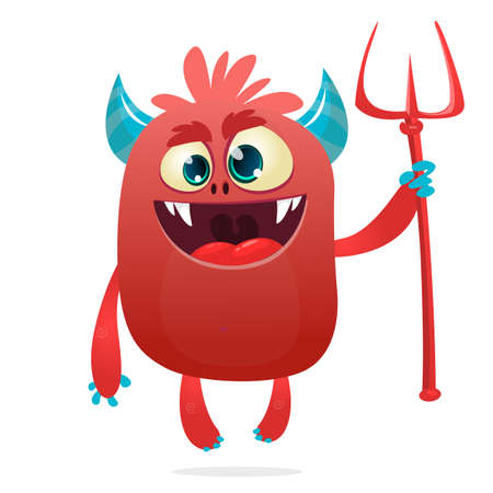 Cute devil cartoon character . Halloween illustration