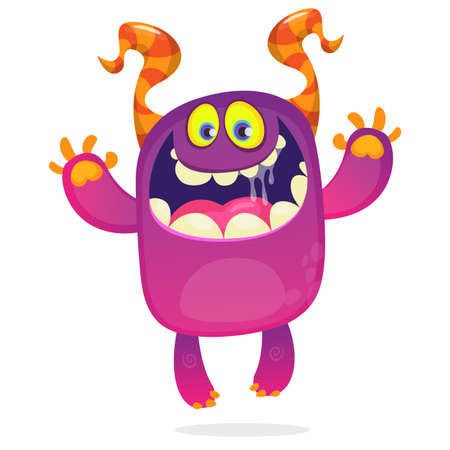 Cartoon funny monster. Halloween vector illustration of excited monster laughing 向量圖像