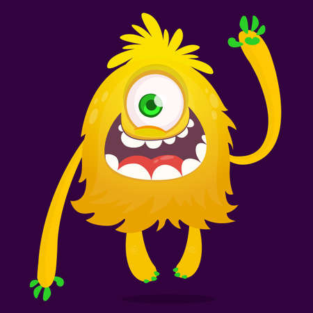 Cute cartoon monster with one eye. Halloween vector illustration of excited monster