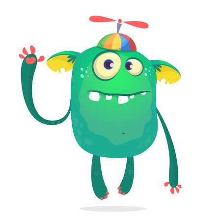 Funny monster kid wearing hat with propeller. Vecto illustration Vecteurs