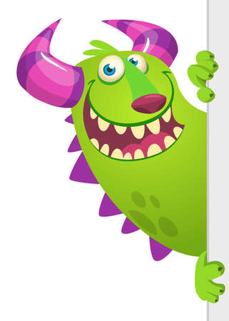 Funny Little Monster Cartoon Character Holding A Blank Sign. Vector Illustration Isolated On White Background