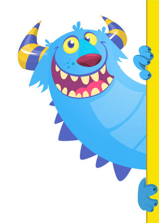 Funny cartoon monster peeping out of blank paper banner or placard. Vector illustration isolated on white