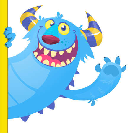 Cute Little Monster Cartoon Character Holding A Blank Sign. Vector Illustration Isolated On White Background