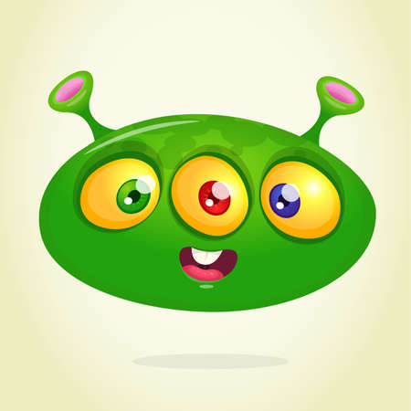 Funny happy cartoon alien. Green vector alien character. Halloween design