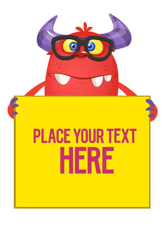 Funny monster in eyeglasses with large board sign