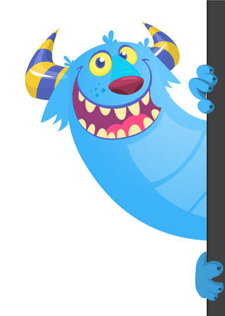 Cartoon funny monster holding empty placard, banner or paper sheet
