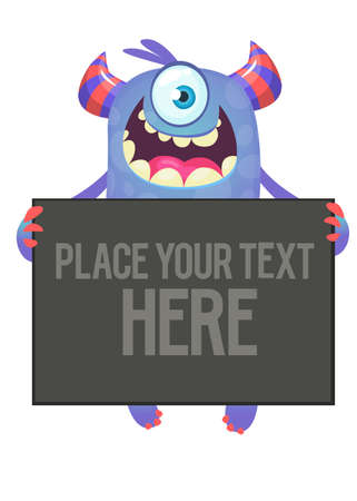 Funny cartoon excited one-eyed monster holding blank paper scroll or banner or poster
