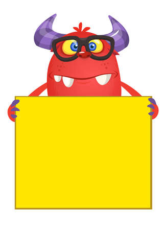 Funny monster in eyeglasses with board sign or placard