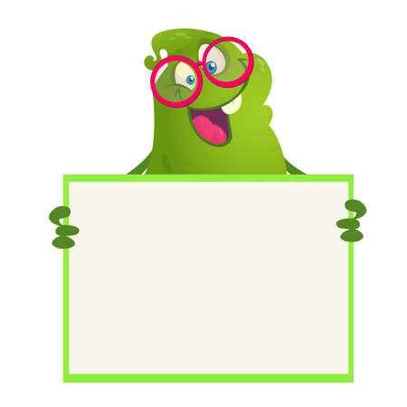 Vector illustration of Funny cartoon monster wearing eyeglasses  holding blank sign