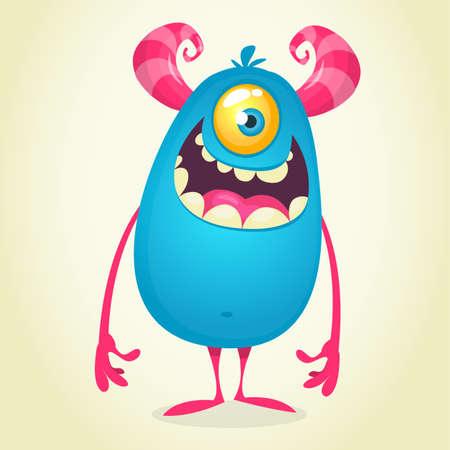 Cartoon one eyed monster cyclops. Funny Halloween illustration