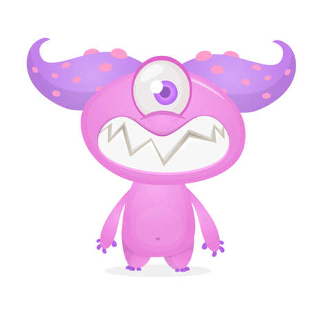 Happy and cute excited monster with one eye. Halloween vector illustration. Big set of cartoon monsters