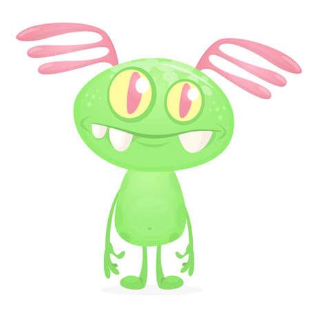 Green alien cartoon. Vector illustration isolated