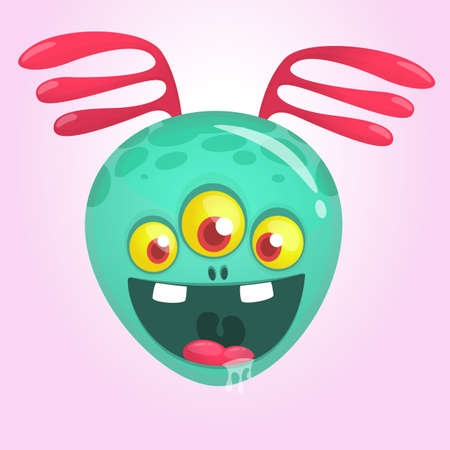 Funny excited alien character cartoon. Halloween vector illustration