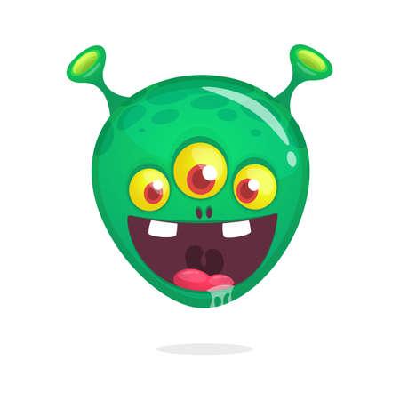 Cartoon alien icon with three eyes. Vector illustration