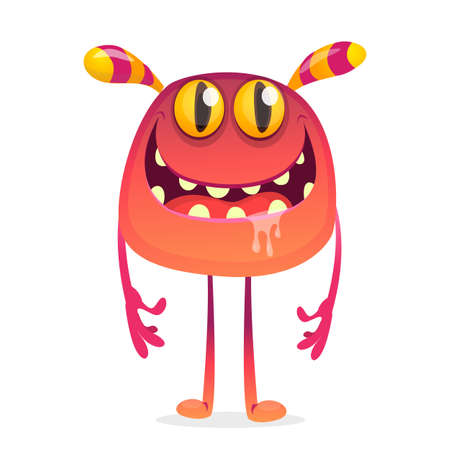 Funny cartoon monster character. Vector alien character illustrated