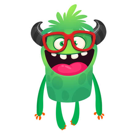 Happy cartoon monster wearing eyeglasses. Smart monster character design