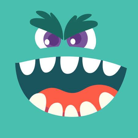 Angry cartoon blue monster face. Halloween vector illustration Ilustración de vector