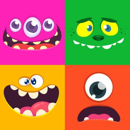 Set of different monster face illustration. Vector