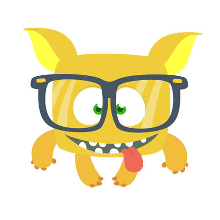 Happy cartoon monster wearing eyeglasses. Smart monster character design