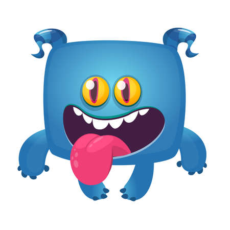 Happy smiling monster cartoon showing tongue. Vector illustration
