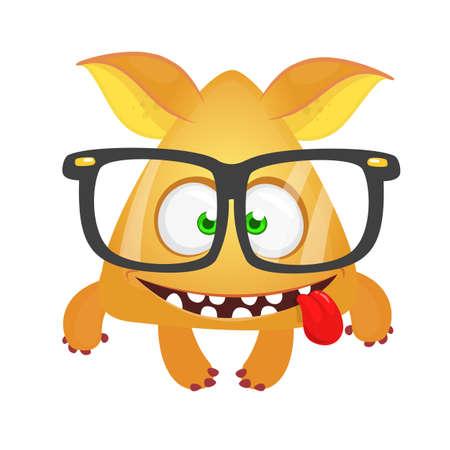 Funny  cartoon monster wearing eyeglasses. Vector illustration
