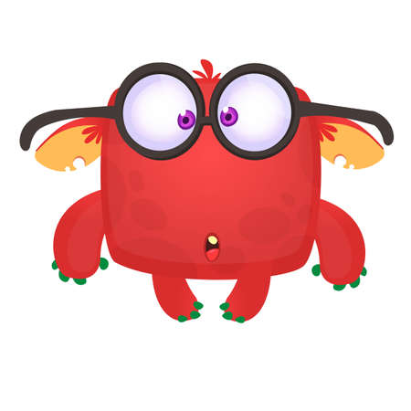 Funny  cartoon monster wearing eyeglasses. Vector illustration