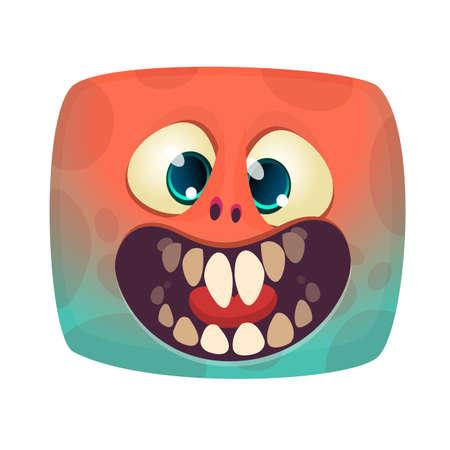 Funny and happy cartoon monster . Vector Halloween illustration Çizim