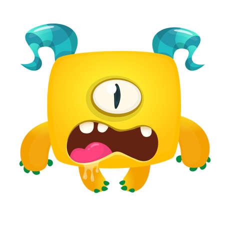 Funny cyclops monster  illustration. Vector design for Halloween