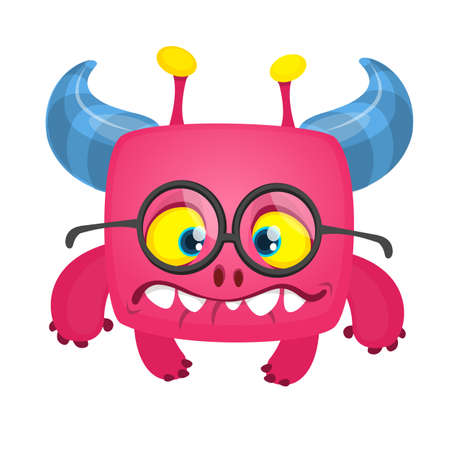 Funny  cartoon monster wearing eyeglasses. Vector Halloween illustration