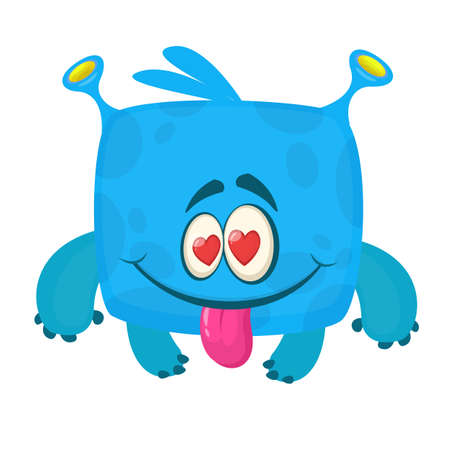 Happy cartoon monster in love. St. Valentine's Day illustration Çizim