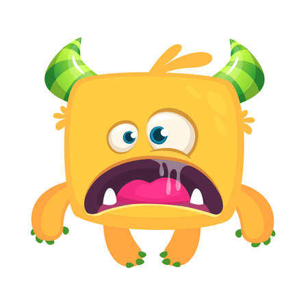 Scary cartoon yellow monster with big mouth. Vector Halloween illustration Illustration