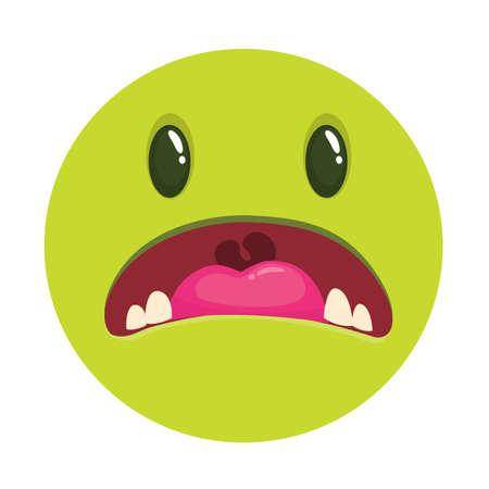 Angry cartoon monster face. Vector monster avatar