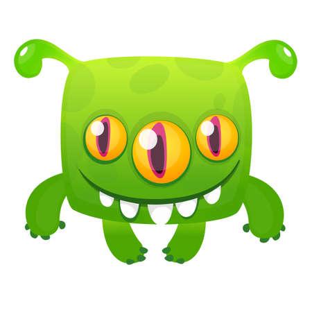 Happy cartoon alien. Vector Halloween illustration Illusztráció