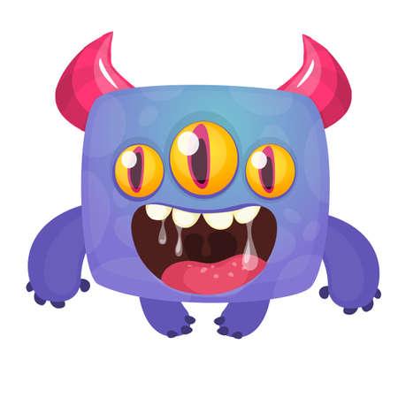 Funny cartoon excited laughing monster. Vector Halloween illustration Illusztráció