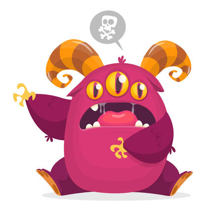 Angry cartoon monster with three eyes. Halloween illustration