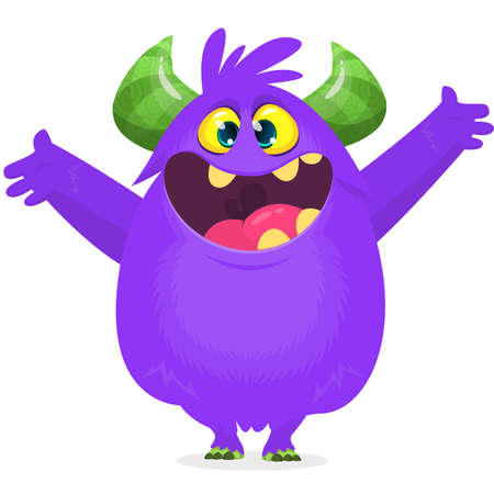 Happy cartoon excited laughing monster. Vector Halloween illustration