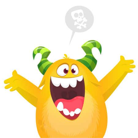 Happy cartoon excited smiling monster. Vector illustration Illusztráció