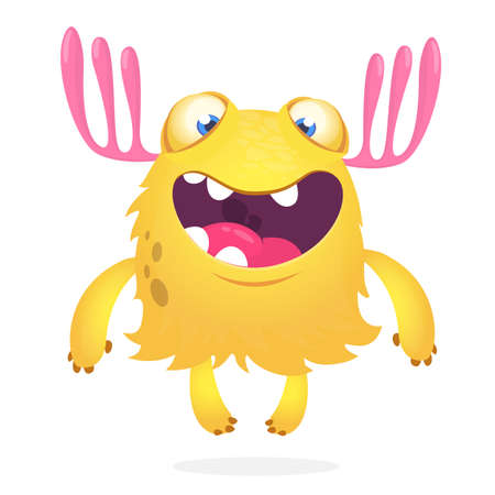 Happy cartoon excited smiling monster. Vector alien character illustration