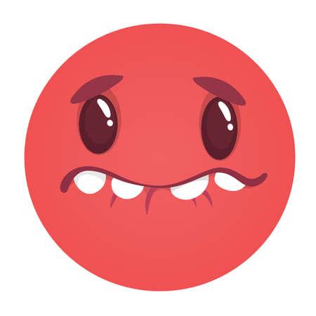 Funny cartoon monster face. Vector monster avatar