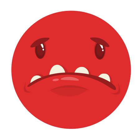 Sad cartoon monster face. Vector monster avatar