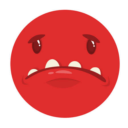 Sad cartoon monster face. Vector monster avatar