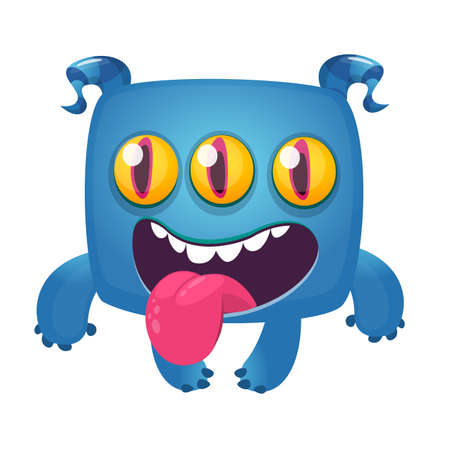 Funny cartoon laughing monster with three eyes. Vector Halloween illustration Çizim