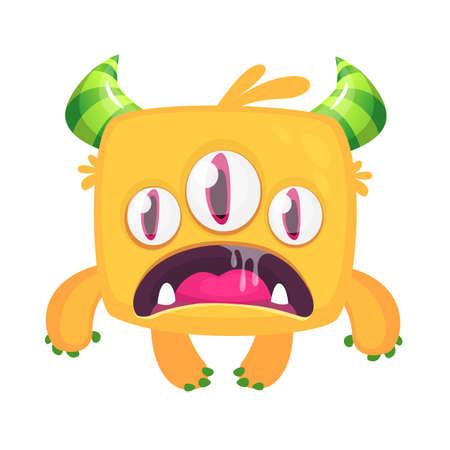 Angry cartoon monster. Vector Halloween illustration