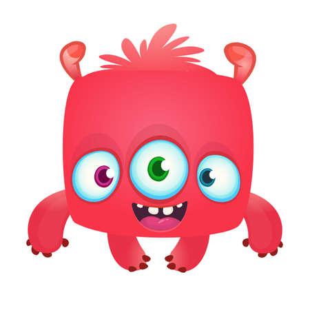 Funny cartoon laughing monster. Vector Halloween illustration
