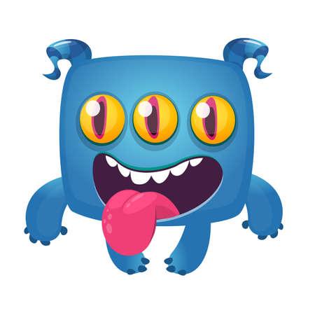 Funny cartoon laughing monster with three eyes. Vector Halloween illustration Illusztráció