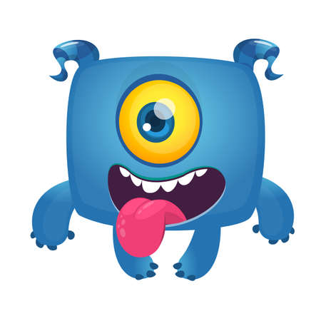 Funny cartoon laughing monster cyclops showing long tongue. Vector Halloween illustration Illusztráció